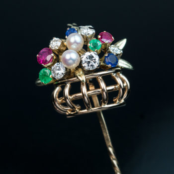 Tutti Frutti multi gem gold basket pin