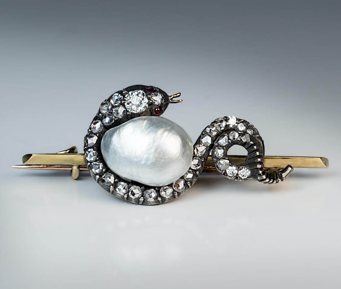 Victorian Baroque Pearl And Diamond Snake Brooch Antique