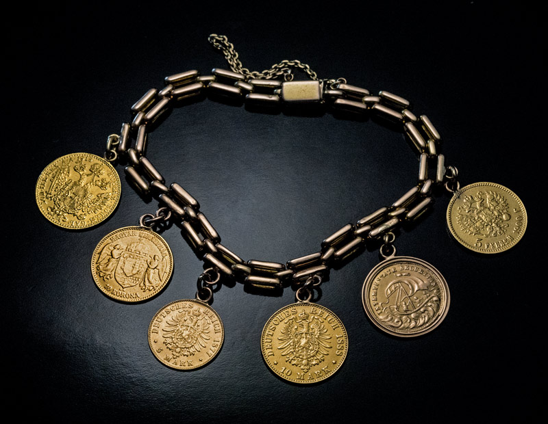 Antique Old European Gold Coin Bracelet Late 1800s Early