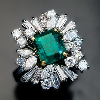 vintage emerald and diamond estate engagement ring