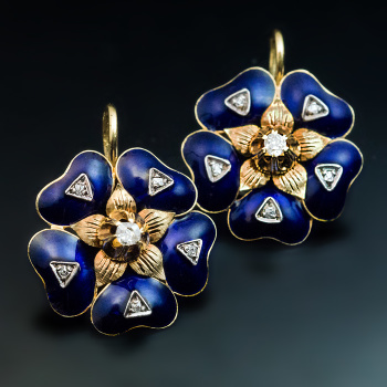 antique Victorian blue enamel earrings