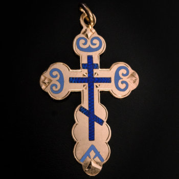 antique gold and enamel cross