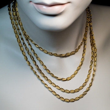 antique gold long link chain necklace