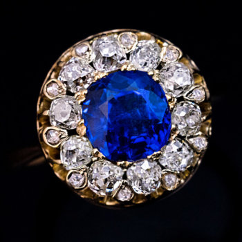 antique Burmese sapphire diamond ring