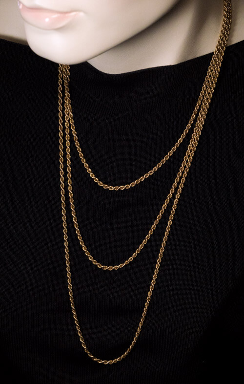 Antique Russian 67 In Long Twisted Rope Gold Chain
