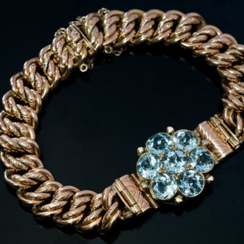 Antique Victorian aquamarine gold bracelet