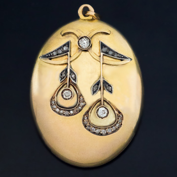 antique Art Nouveau gold and diamond locket pendant necklace