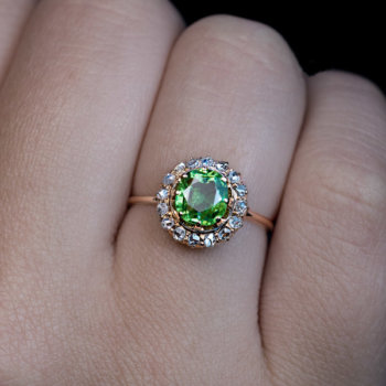 demantoid diamond ring