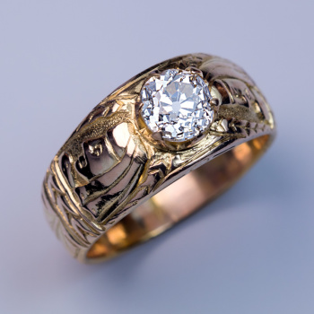 antique men's chased gold diamond ring