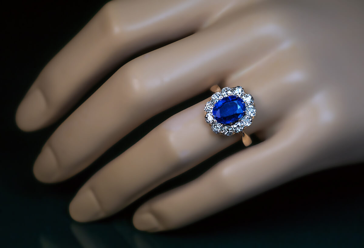 Vintage Diamond And Kyanite Cluster Engagement Ring