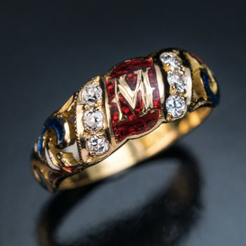 vintage gold enamel diamond monogrammed ring