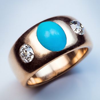 antique turquoise diamond three stone gold ring
