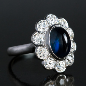 vintage cabochon sapphire diamond platinum engagement ring