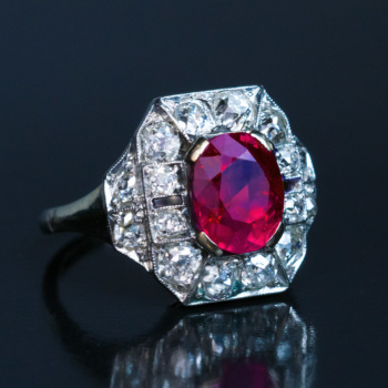 Original Art Deco vintage engagement ring set with natural no heat untreated Burma ruby