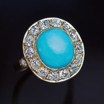 vintage turquoise diamond ring