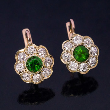 demantoid diamond cluster earrings