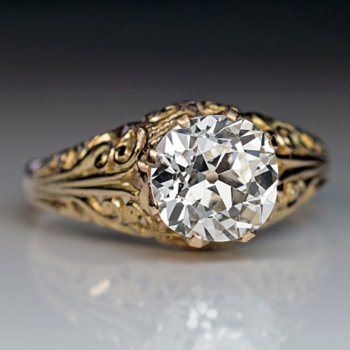 2 carat old mine cut diamond ring