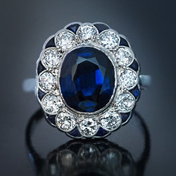 vintage sapphire diamond engagement ring
