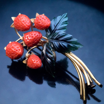vintage carved coral jewelry - wild strawberry brooch