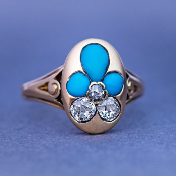 antique Victorian turquoise and diamond gold ring