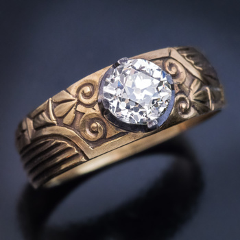 1.23 ct old European cut diamond mens ring