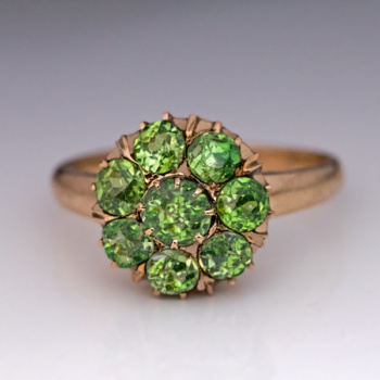 antique demantoid garnet cluster ring