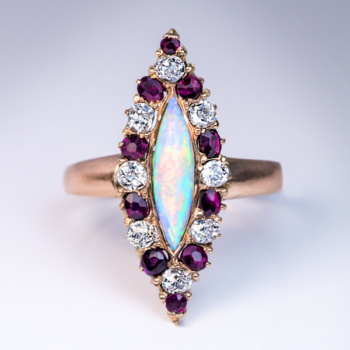 antique ruby diamond opal marquise navette shaped ring