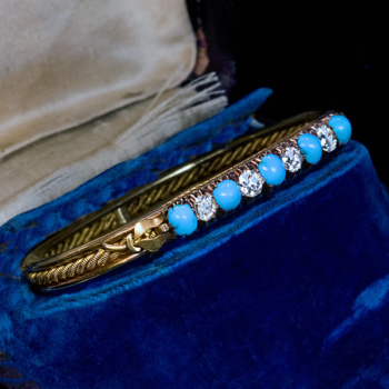 Antique Victorian era turquoise diamond gold bracelet