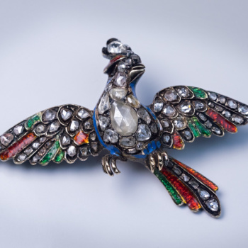 "Antique 18th century Georgian rose cut diamond and enamel ""bird of paradise"" brooch"