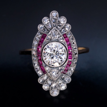 Early Art Deco Edwardian diamond ruby engagement ring