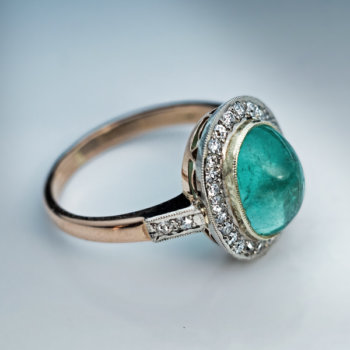 Vintage cabochon cut emerald and diamond ring