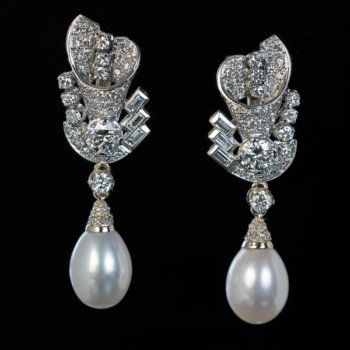 vintage diamond and cultured pearl earrings