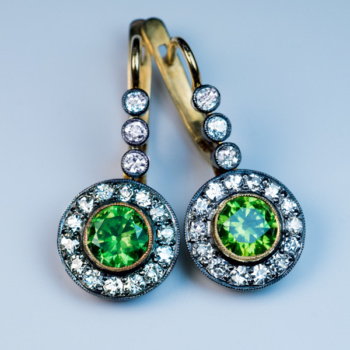 demantoid and diamond drop earrings