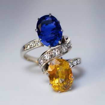 Blue and Orange Sapphire Ring