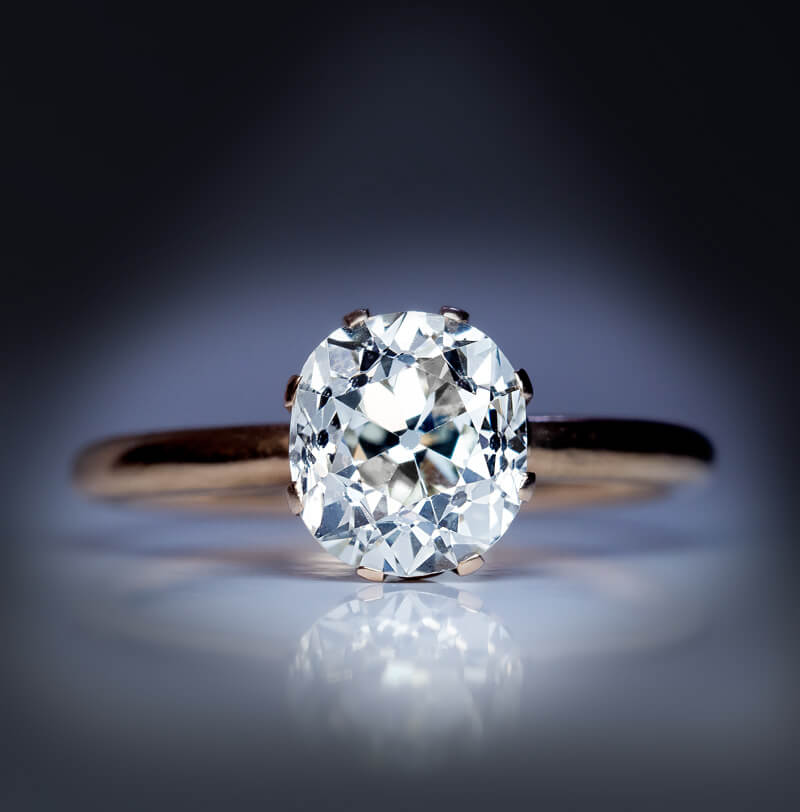 Greatest Antique Russian 2.66 Ct Cushion Cut Diamond Engagement Ring  ZS03