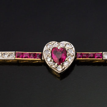 antique Edwardian ruby diamond heart bracelet
