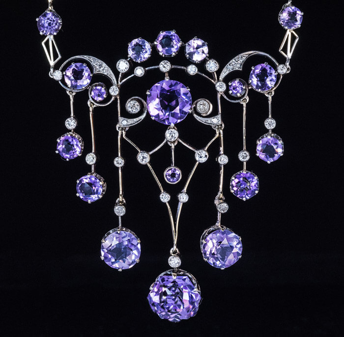 Exceptional Antique Russian Amethyst Diamond Necklace ...