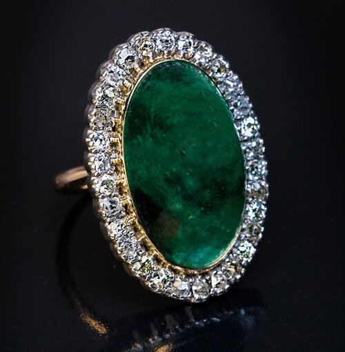 19 17 Ct Cabochon Emerald Diamond Antique Ring Antique