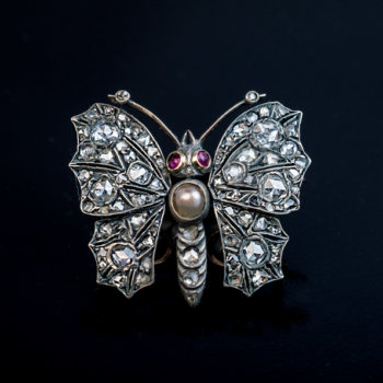 Antique Victorian diamond butterfly brooch pin