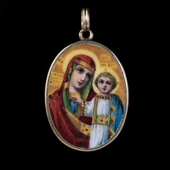 antique Russian miniature gold and enamel icon pendant of Mother of God