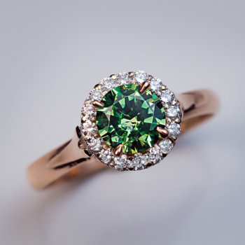 Russian demantoid garnet ring