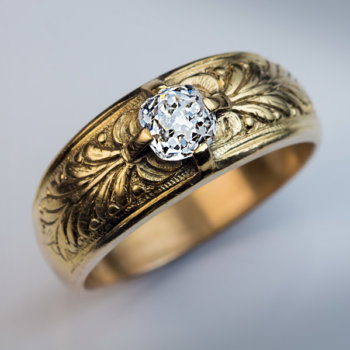 antique old cushion cut diamond chased and engraved gold mens ring