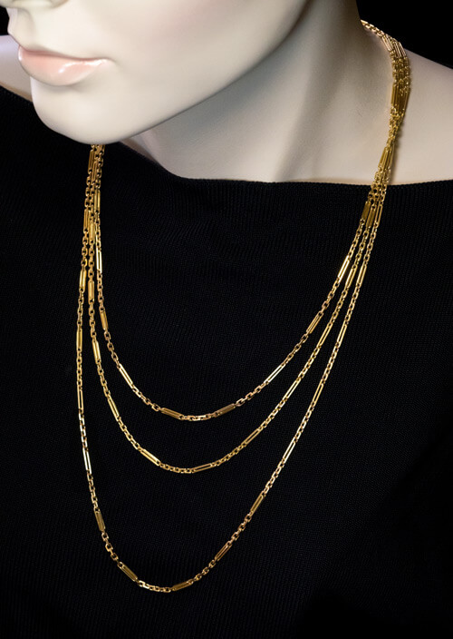 5fe425dbaf3 Antique Russian 72 in. Oblong Link Gold Necklace - Antique Jewelry ...