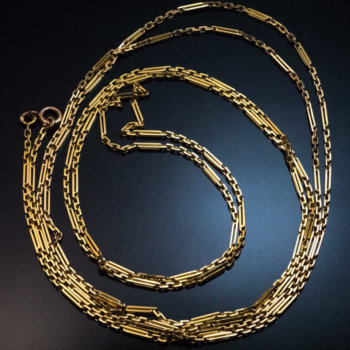 antique gold long chain necklace