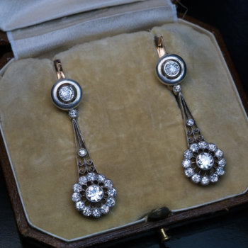 antique diamond pendant earrings