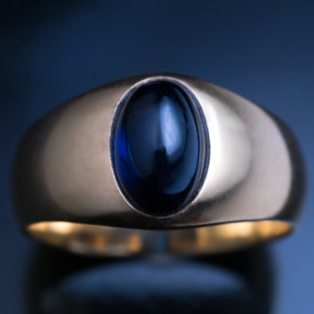 cabochon sapphire gold antique mens ring