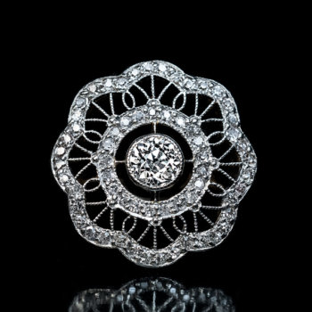 Edwardian jewelry - openwork platinum lace diamond ring