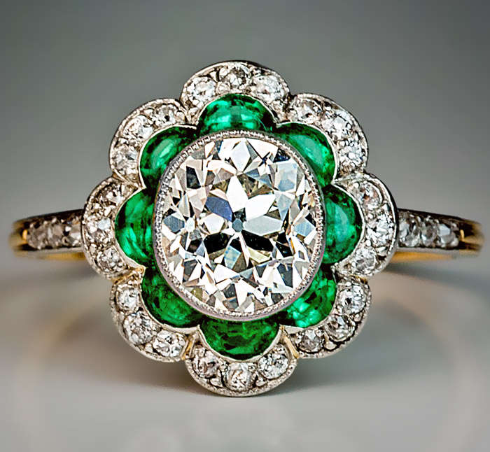 1920s Original Art Deco Diamond Emerald Engagement Ring