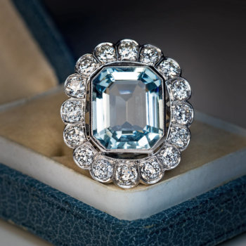 vintage art deco aquamarine rings
