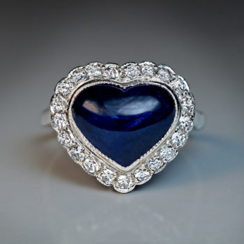 vintage art deco era heart shaped sapphire and diamond engagement ring